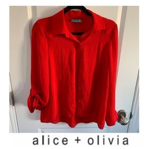 Alice + Olivia Red Button Down Blouse